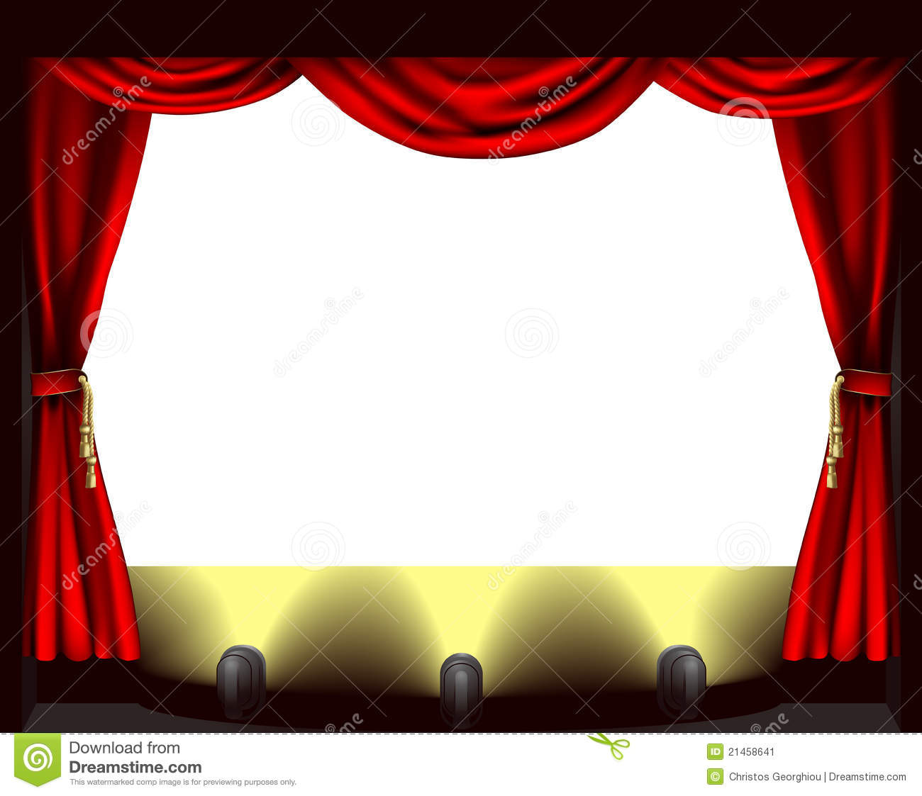 theatre stage, lights and curtain illustration.
