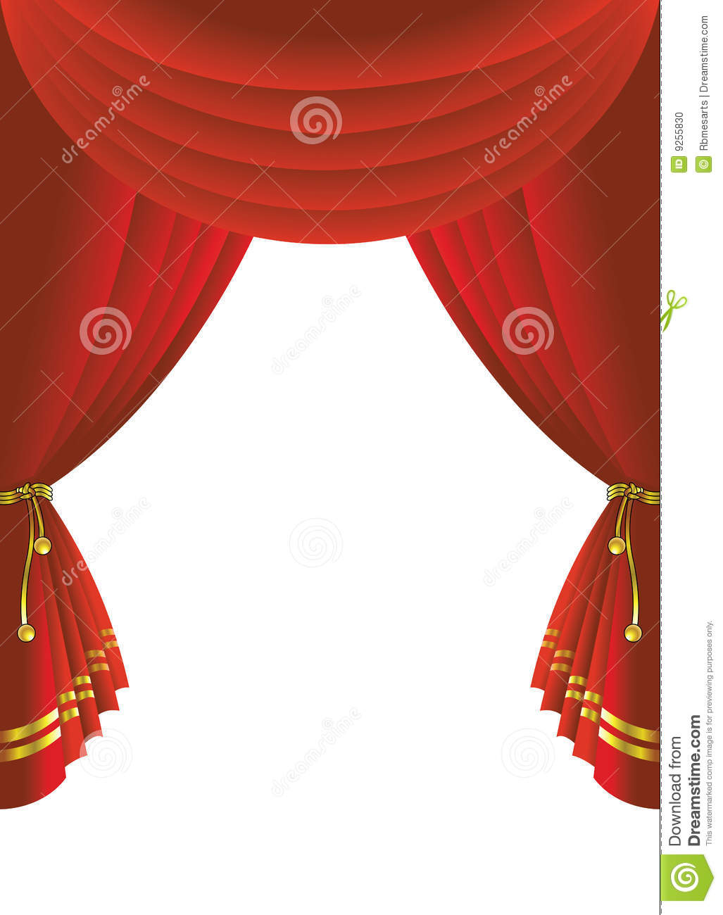 Theatre stage curtain illustration over white background