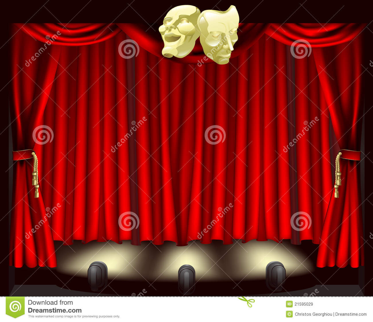 theatre stage with masks stock vector illustration of