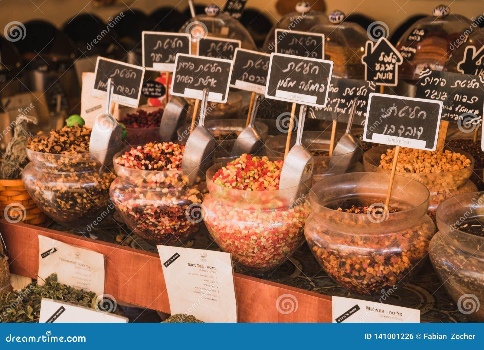 Thee bij de markt van Tel Aviv