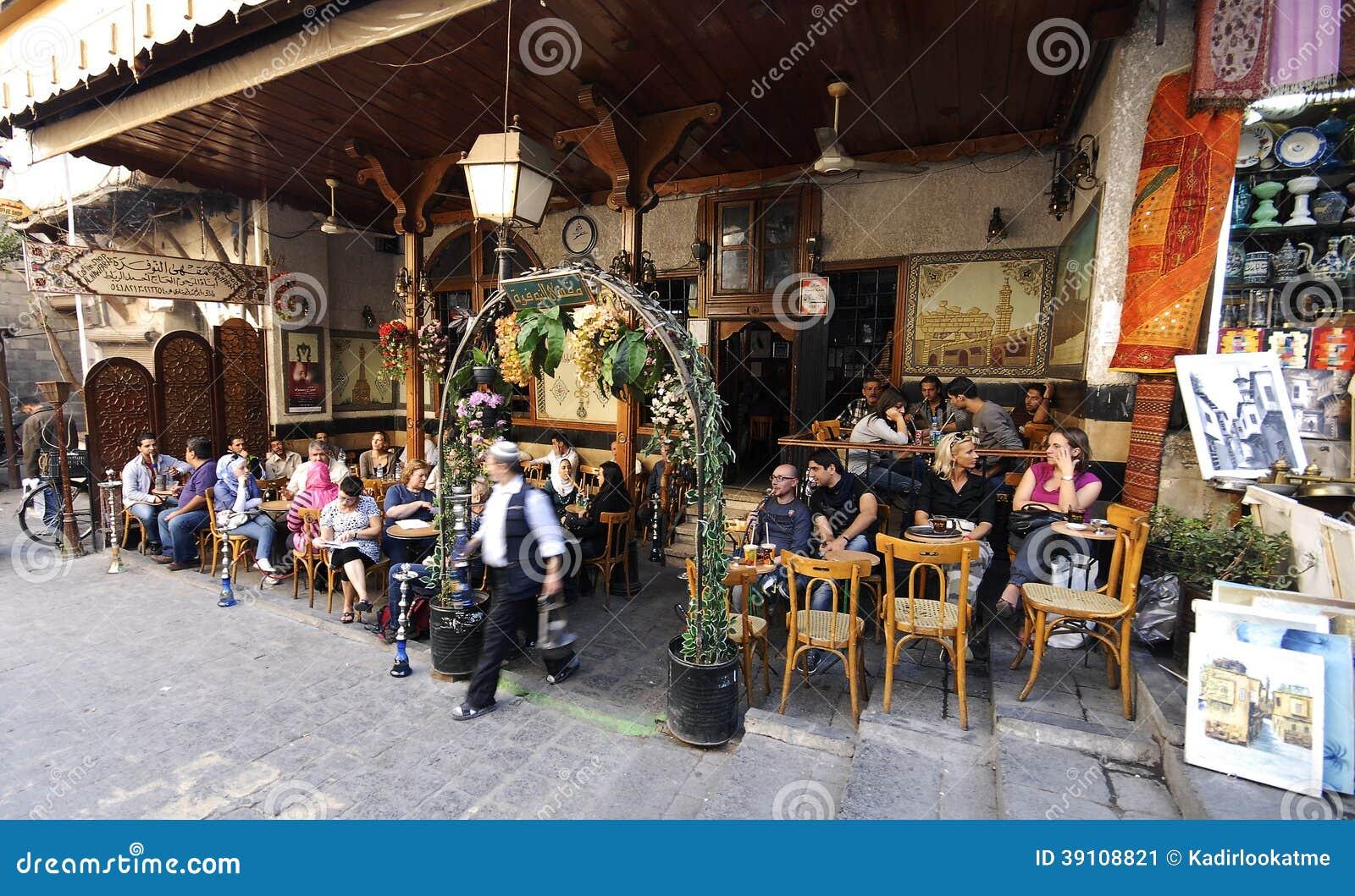 Theehuis en tabakswinkel in Damascus