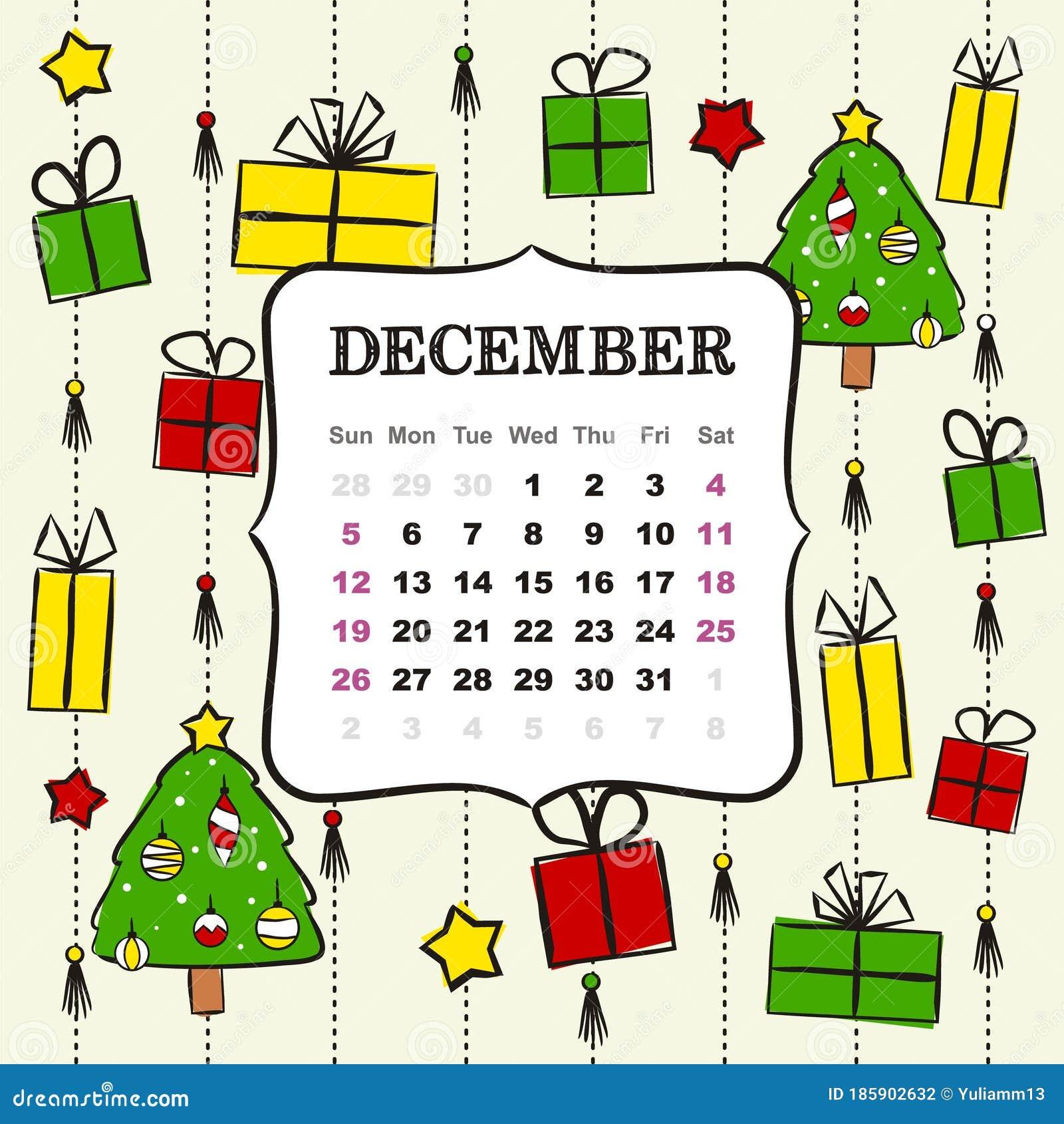 Calendar December 2021 Christmas Thematic Template For A Calendar For 2021 December Stock Illustration Illustration Of Design July 185902632