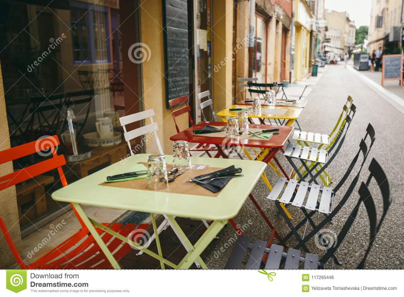 Theme Cafes And Restaurants Exterior Summer Terrace Of Bright Colors Of Street Cafe Shop In Europe In France Preserved Tables Wi Stock Photo Image Of Rustic Diner 117265448
