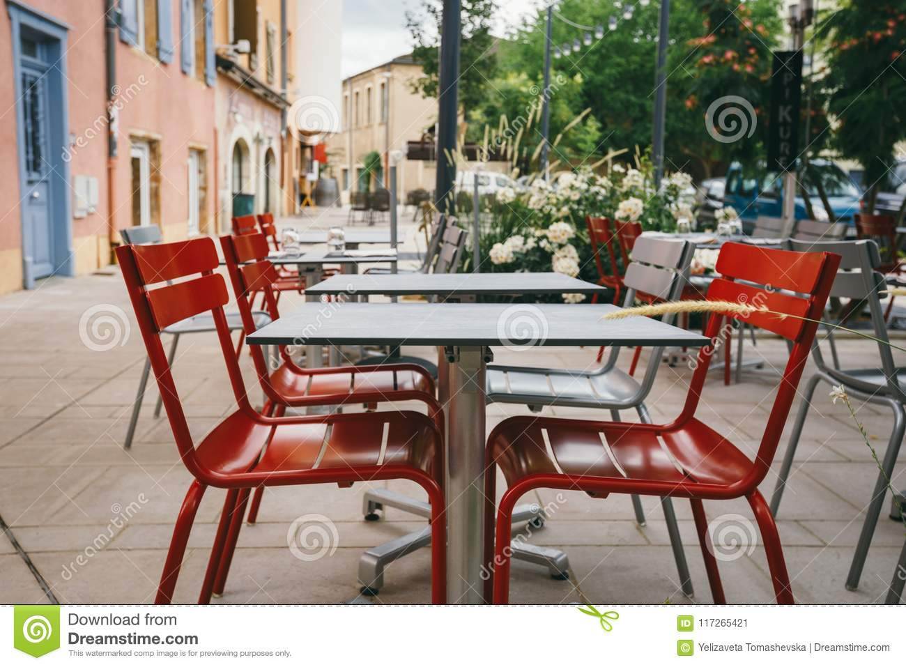 Theme Cafes And Restaurants Exterior Summer Terrace Of Bright Colors Of Street Cafe Shop In Europe In France Preserved Tables Wi Stock Image Image Of Place Dining 117265421
