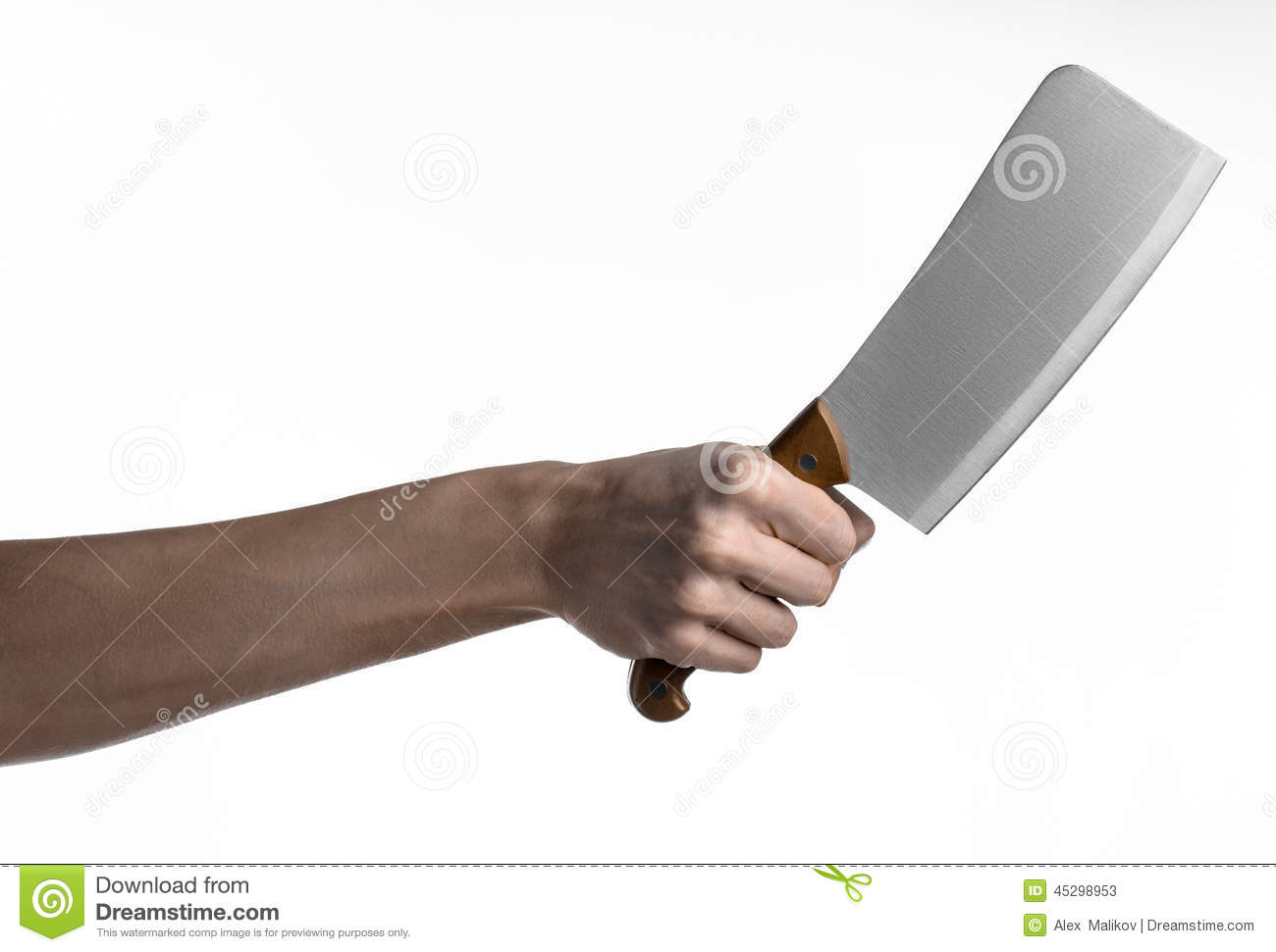 the theme of the kitchen chef hand holding a large kitchen knife for cutting meat on a white. Black Bedroom Furniture Sets. Home Design Ideas