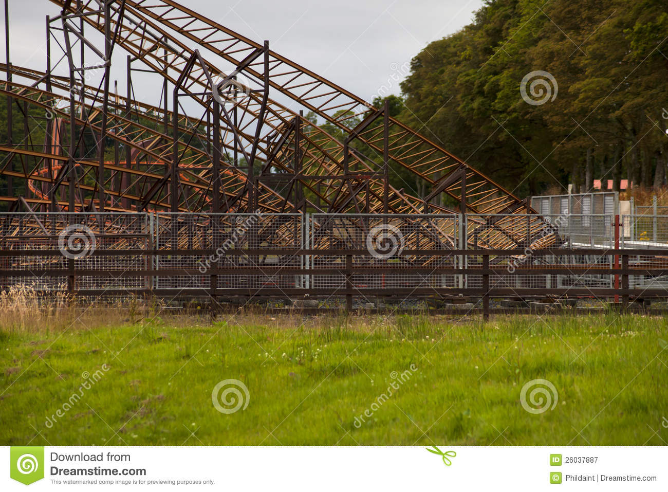 Theme Park Roller Coaster Stock Image Image Of Amusement Architectural 26037887