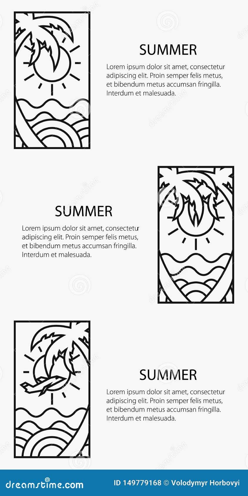 Themed affisch för sommar, semesterbaner