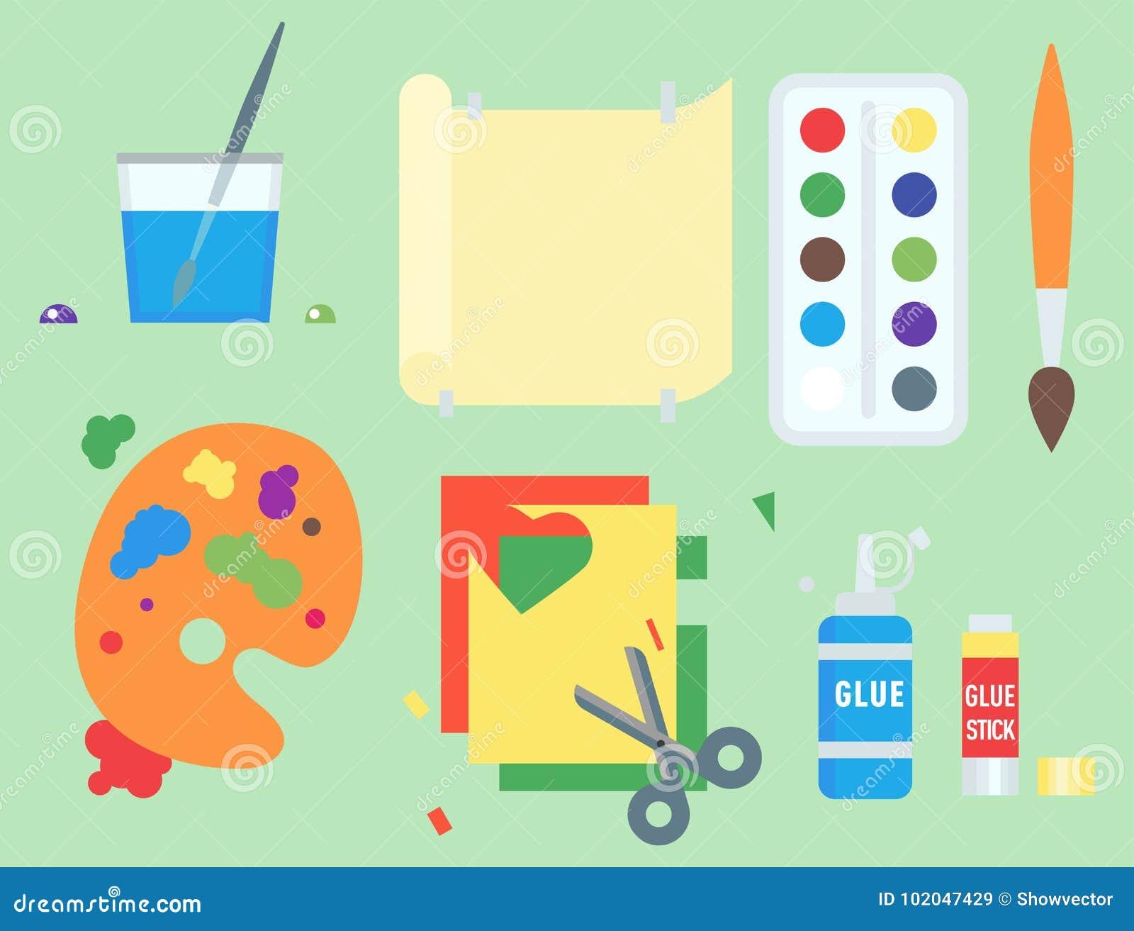 Themed affisch för symboler för ungekreativitetskapelse i plan stil med konstnärliga objekt för den ovanliga festen för barnkonst