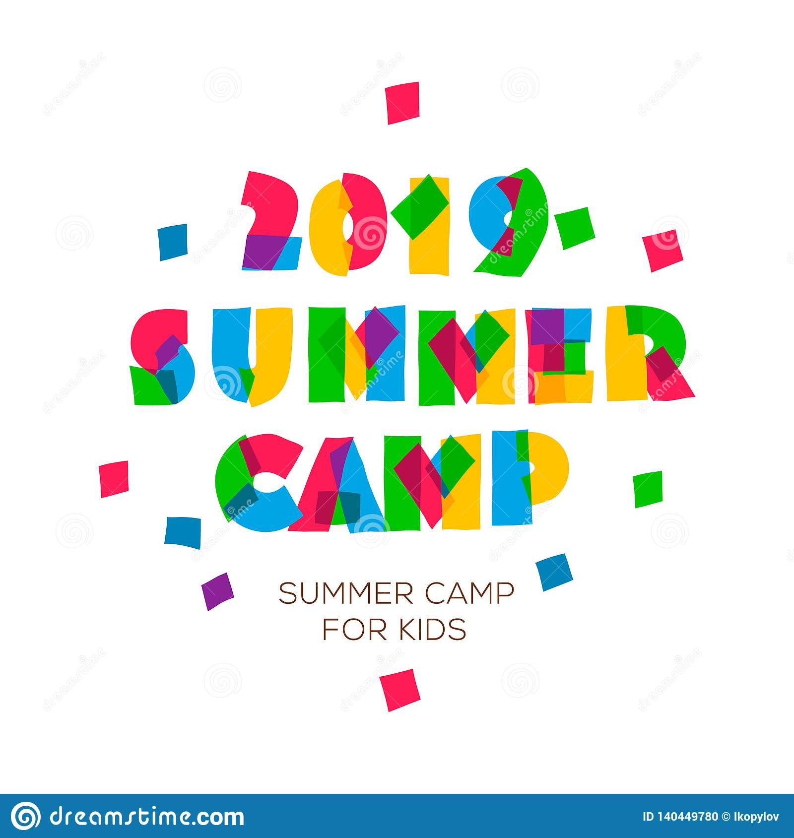 Themed Summer Camp 2019 Poster In Flat Style, Vector Illustration