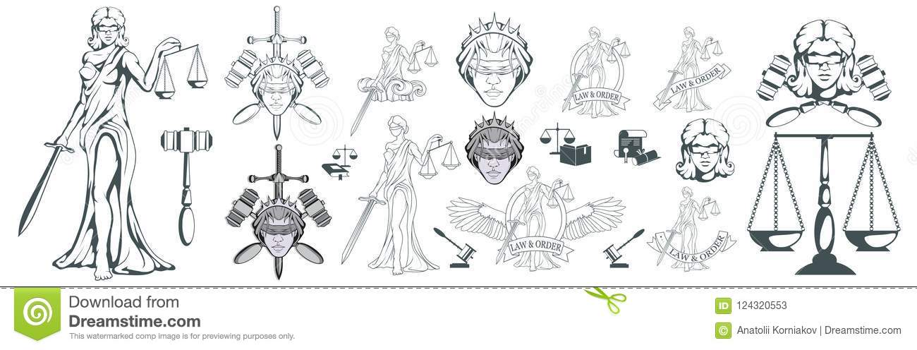 Themis Ancient Greek Goddess Of Justice Hand Drawn Scales Of