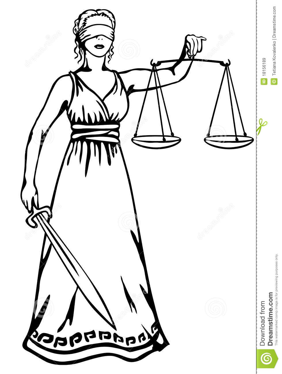 Themis A Goddess Of Justice Stock Vector Illustration