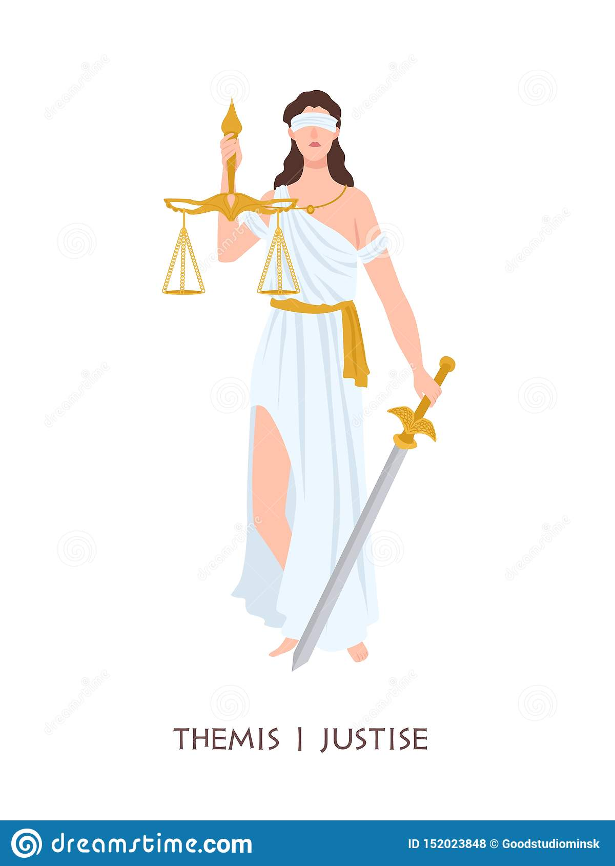 Themis or Justice - goddess of order, fairness, law from ancient Hellenic myths. Greek and Roman legendary female