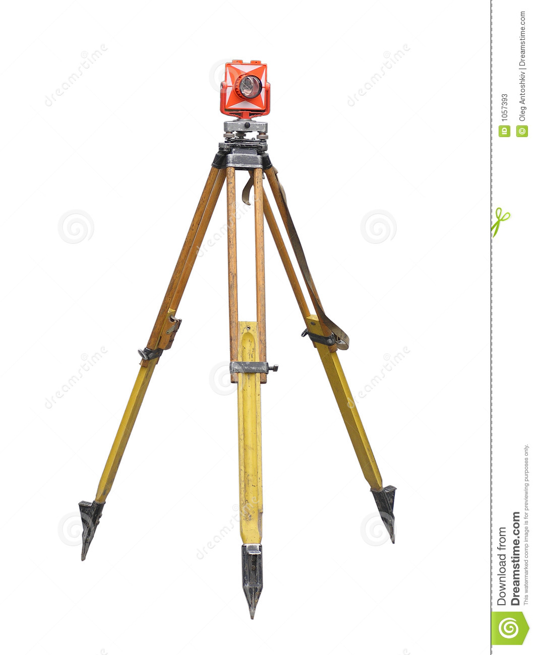 Isolated wooden theodolite tripod over white.