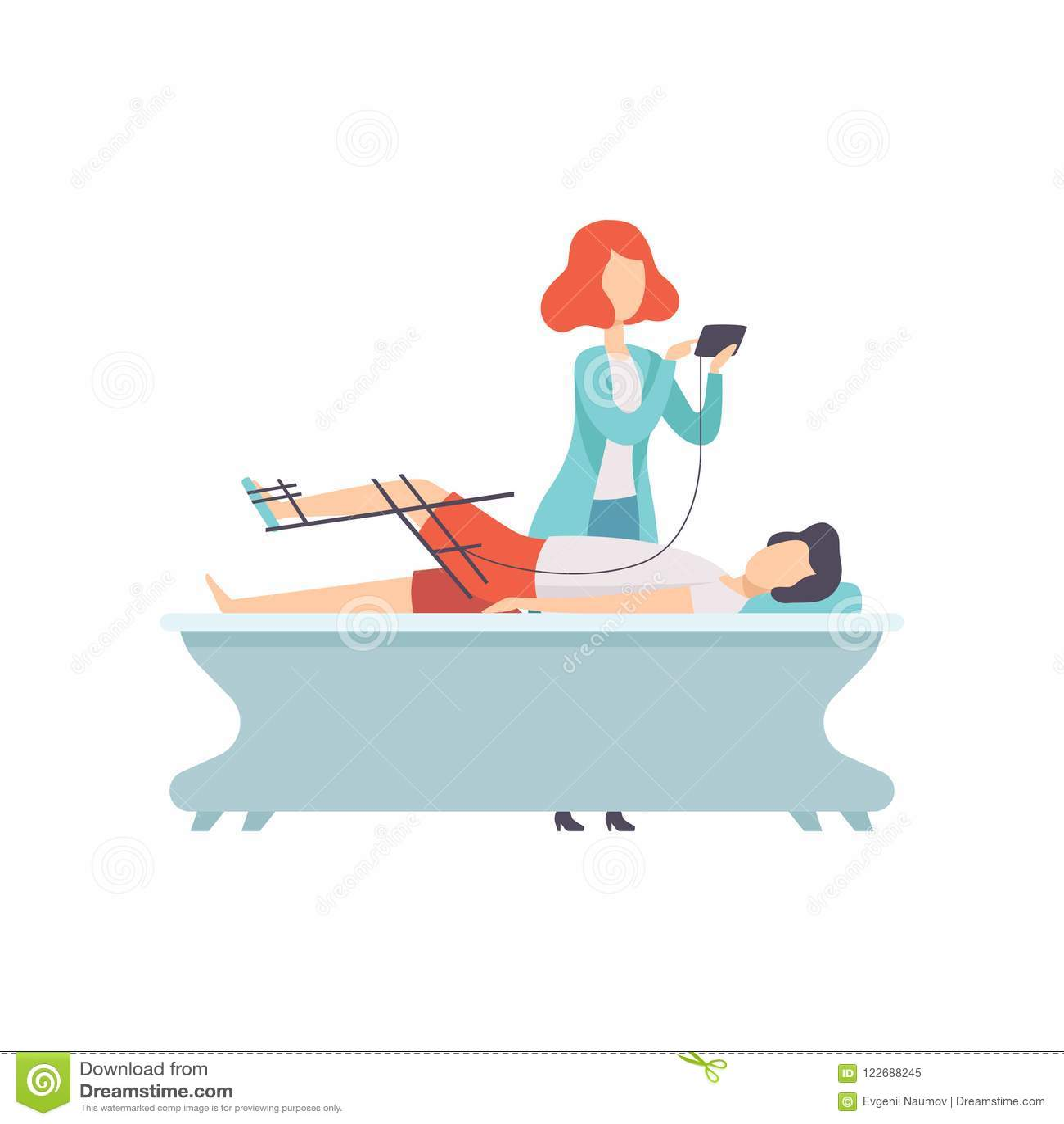 Therapeut die met gehandicapte patiënt en orthosis medische apparatuur, medische rehabilitatie, fysieke therapie werken