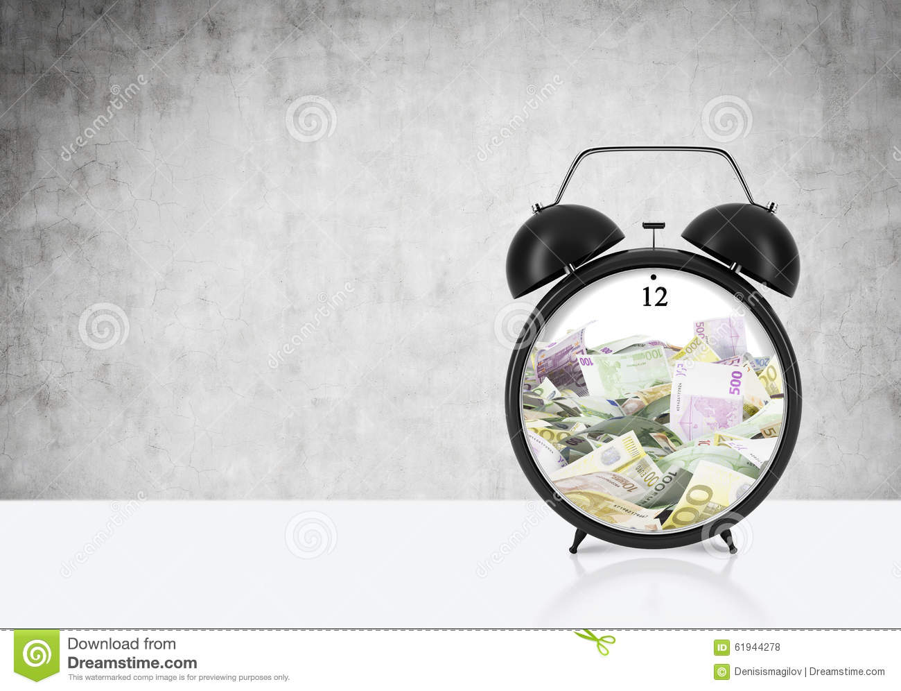 There is EURO bills inside the alarm clock which is on the table. The concept of  time is money  and a time management.