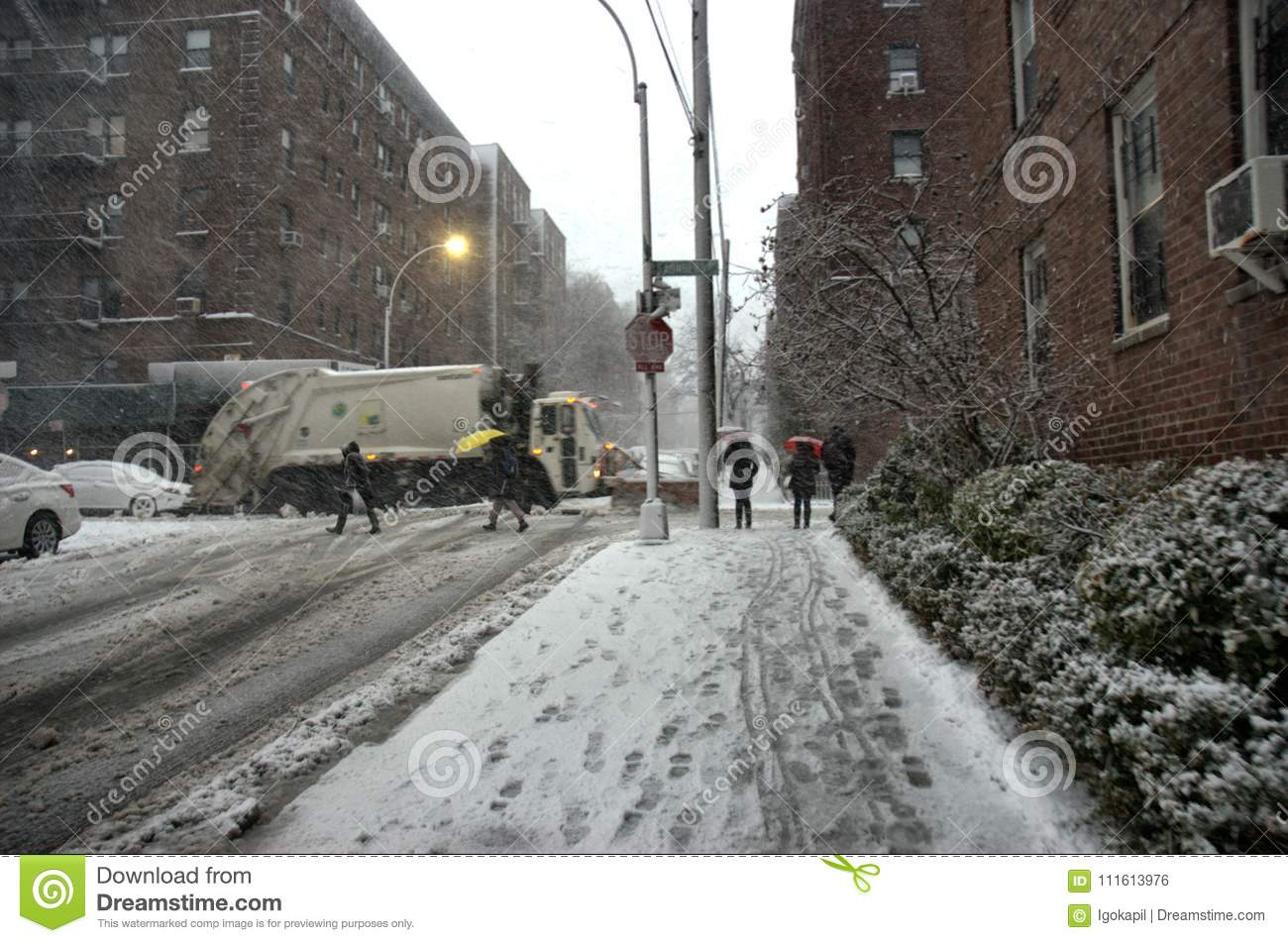 Snowstorm New York City Weather March Editorial Photo