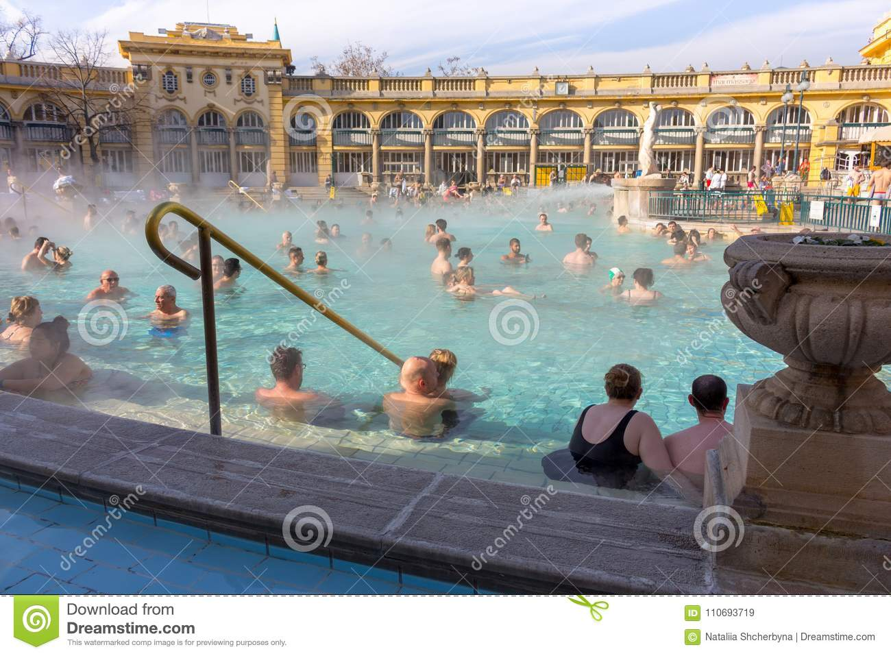 Thermal Baths Széchenyi In Open Air With Relaxing People On Sunny ...