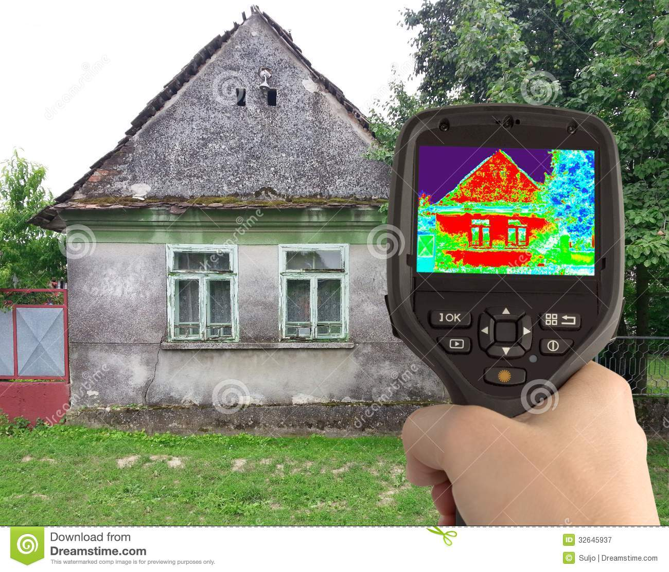 Thermal Image Of The Old House Royalty Free Stock
