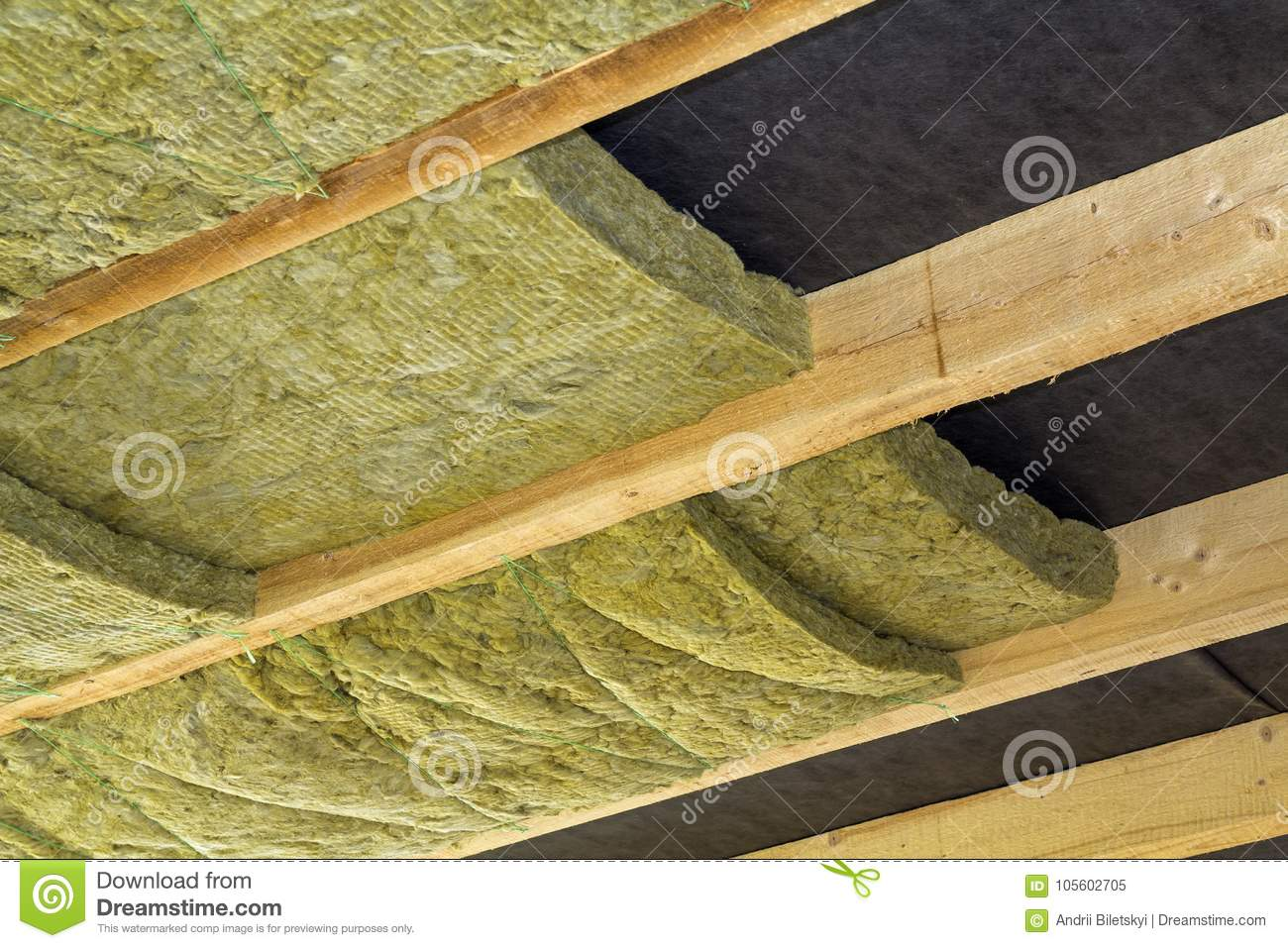 Thermal insulation mineral rock wool installation at the for Mineral wool installation