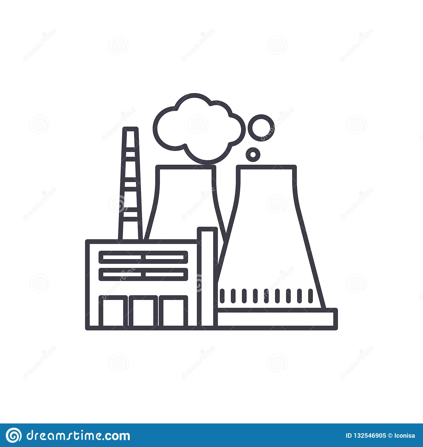 1e5ac837 Thermal power plant line icon concept. Thermal power plant vector linear  illustration, sign, symbol