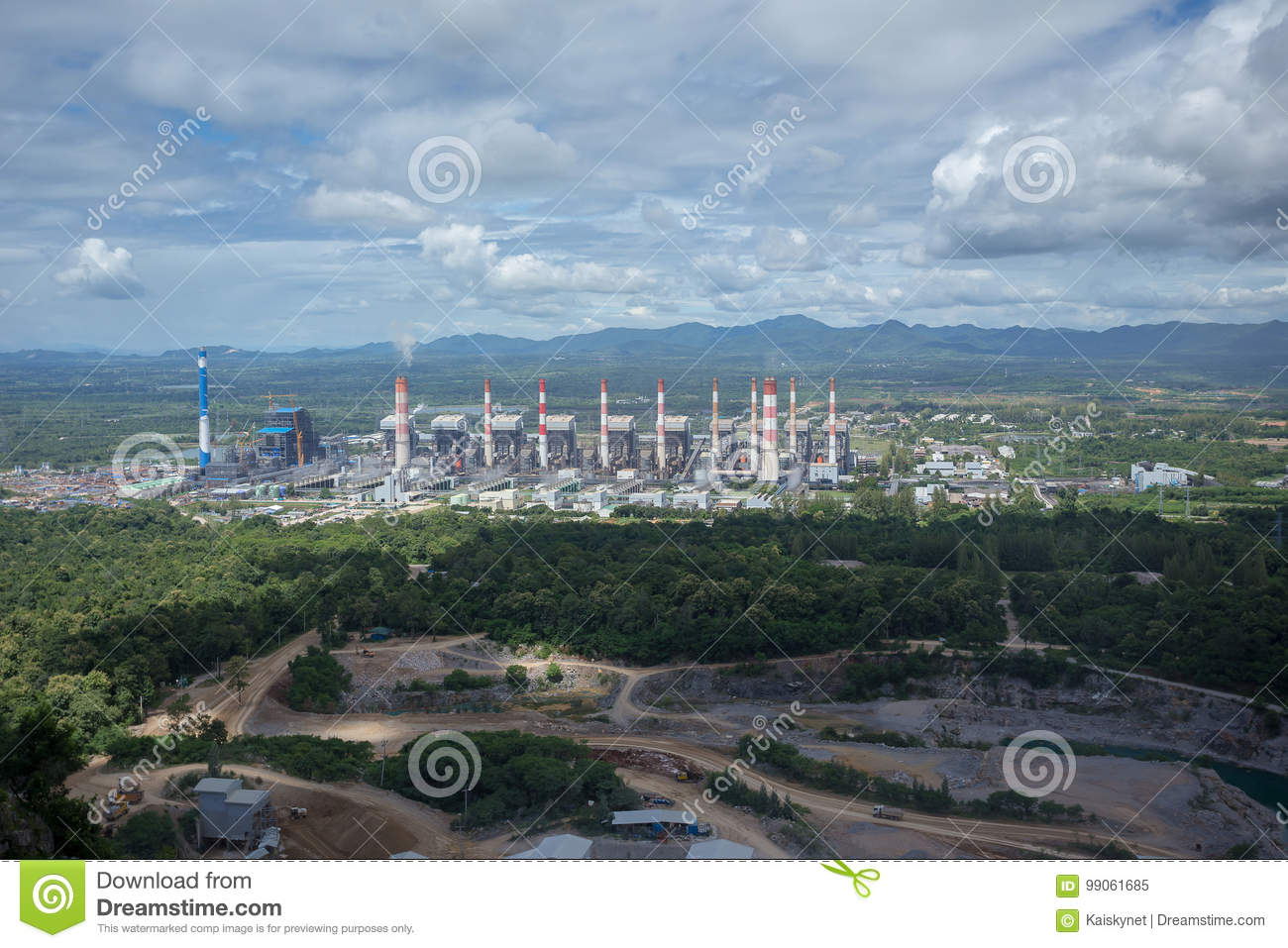 Thermal power plant. Mae Moh coal power plant in Lampang Thailand.