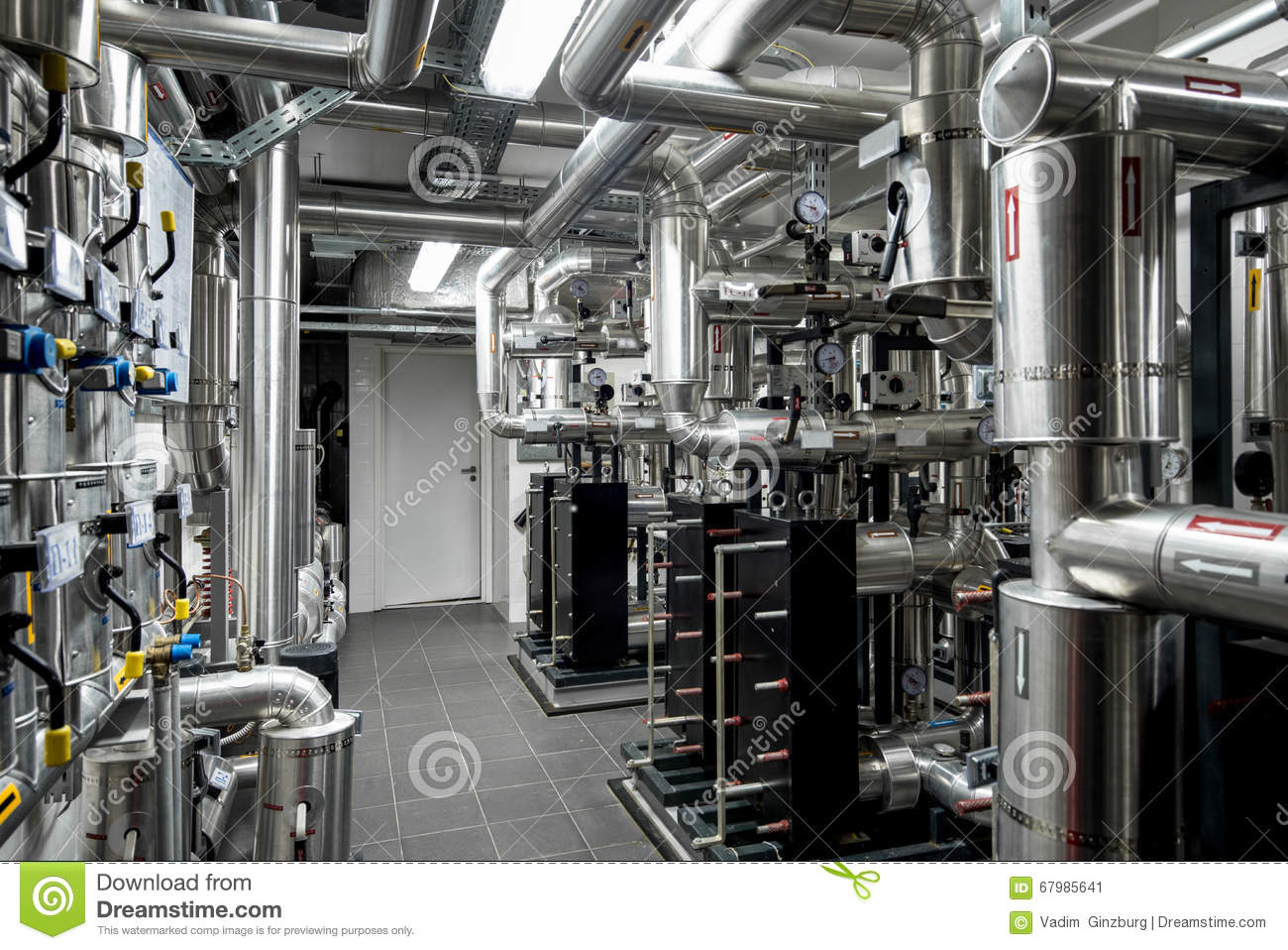 Thermal Power Plant Piping At Modern Factory Stock Image