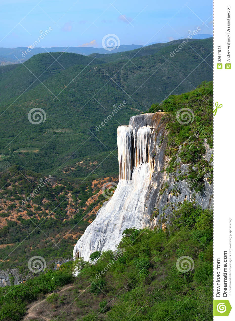 Thermal springs Hierve El Agua in Oaxaca is one of the most beau