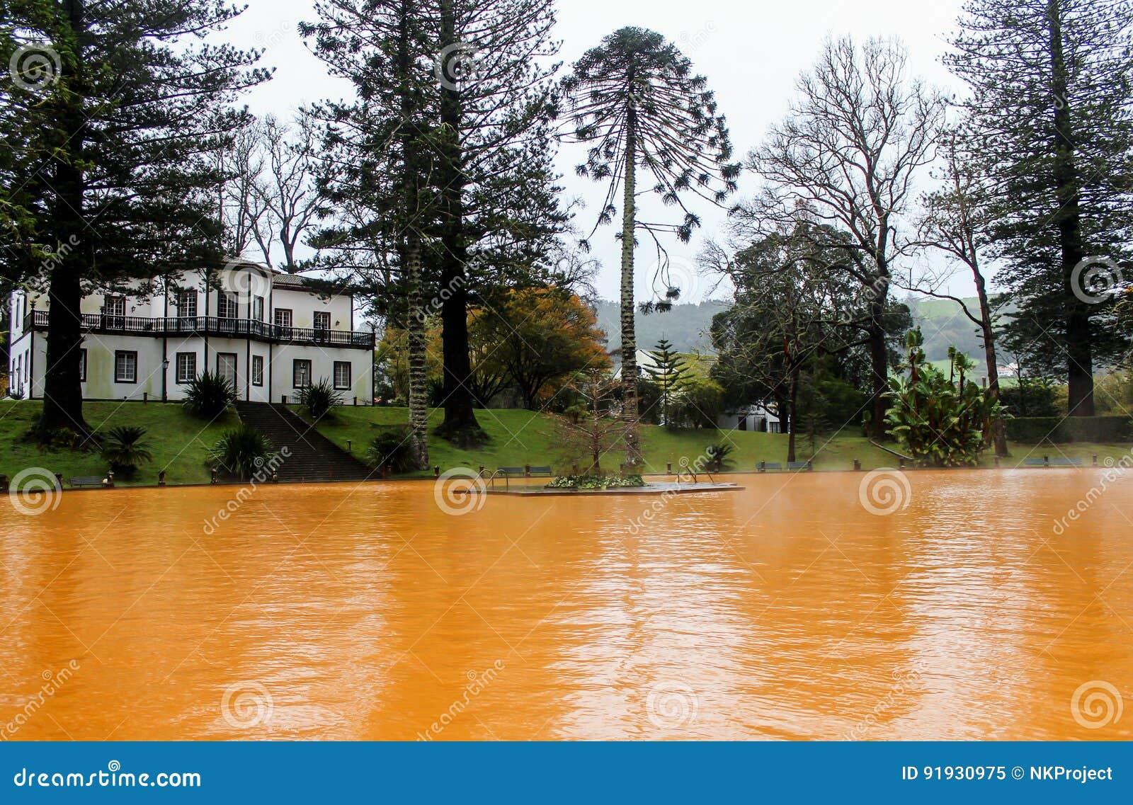 Thermal springs. Orange water. Azores islands. Portugal