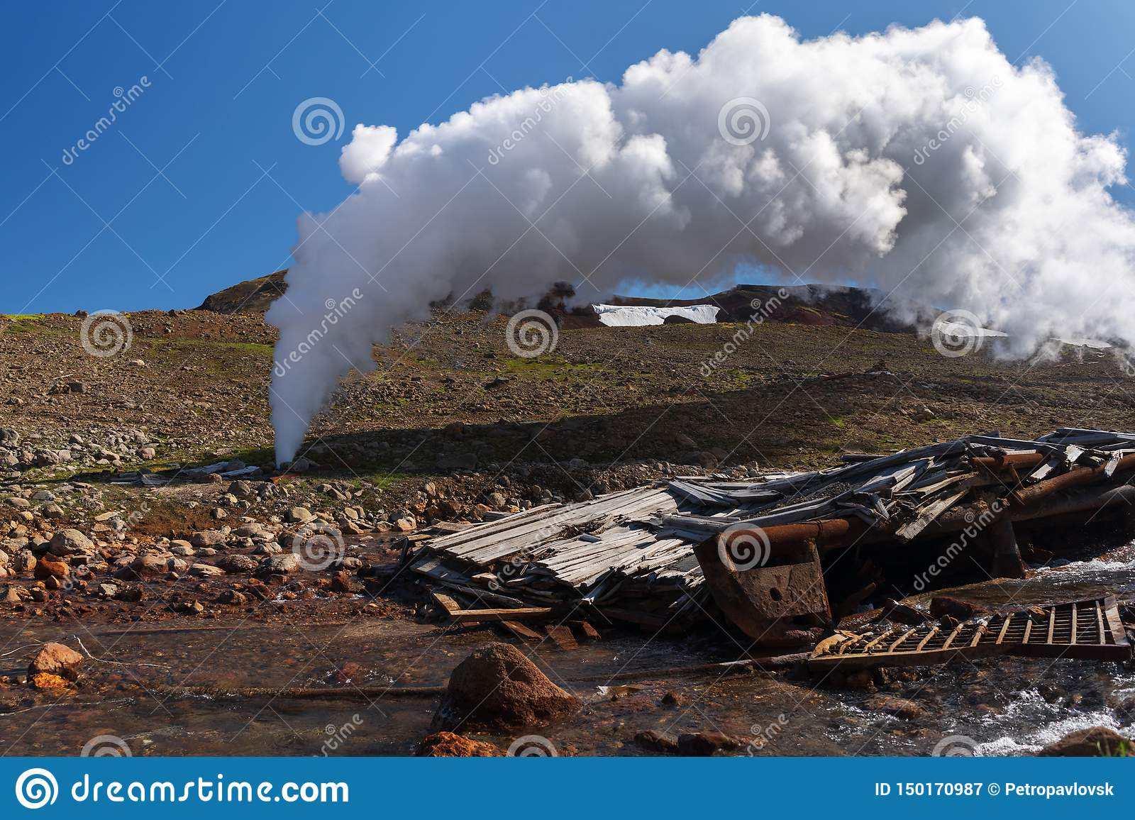 Thermal steam-water mixture Emission from well in geothermal deposit area