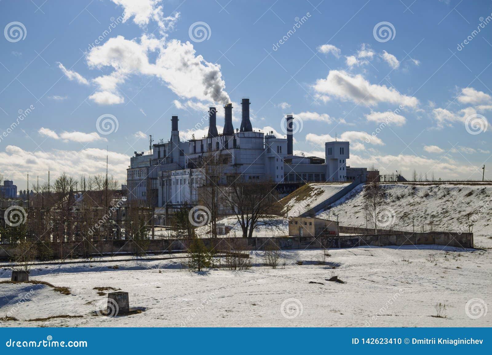 Thermische elektrische centrale Het werk beeld