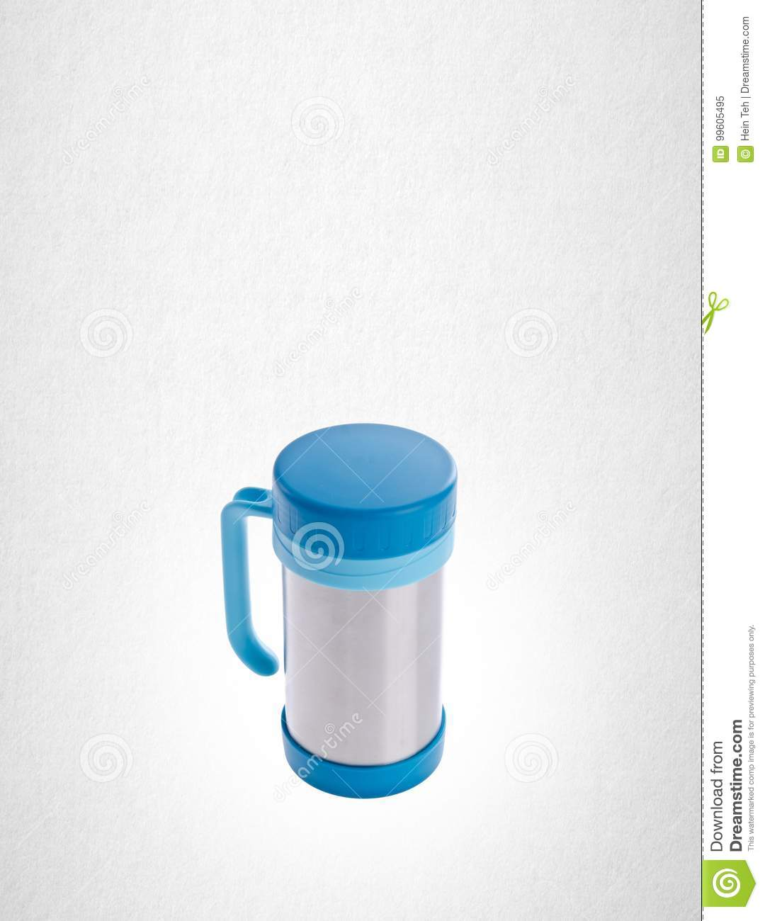 Thermo cup or stainless steel thermo cup on a background.
