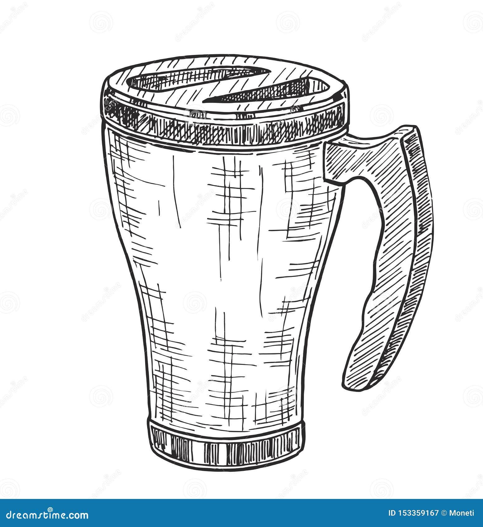 Thermo Cup Thermomug Illustration Travel Mug Sketch Stock Illustration Illustration Of Temperature Shiny 153359167