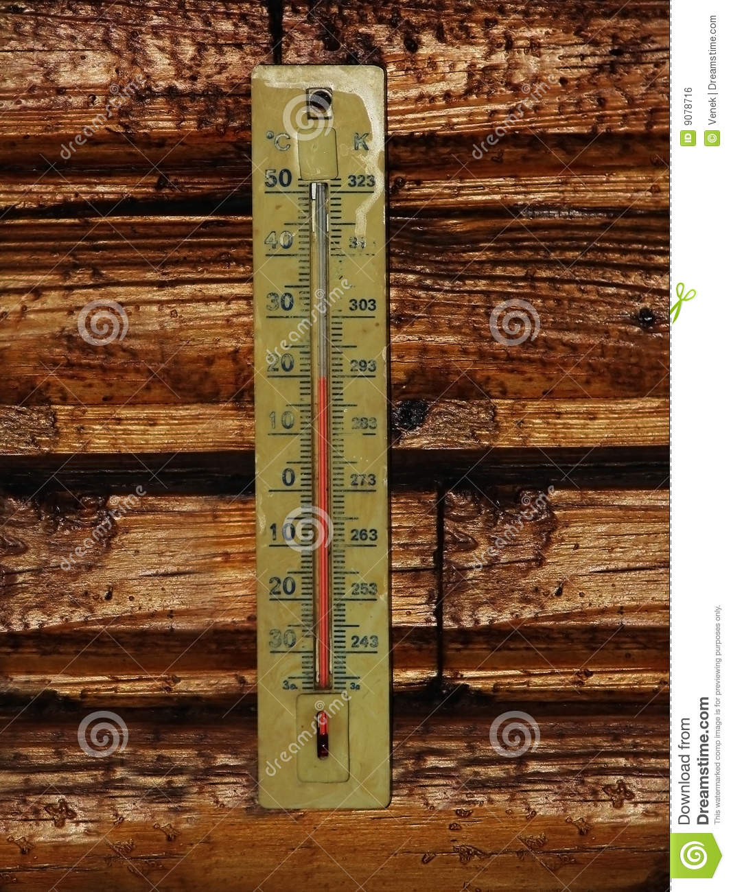 Thermometer auf Holz