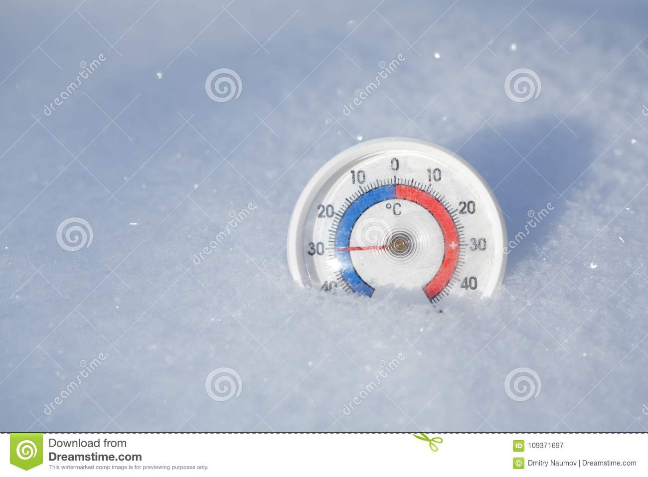 Outdoor Thermometer In Snow Shows Minus 30 Celsius Degree