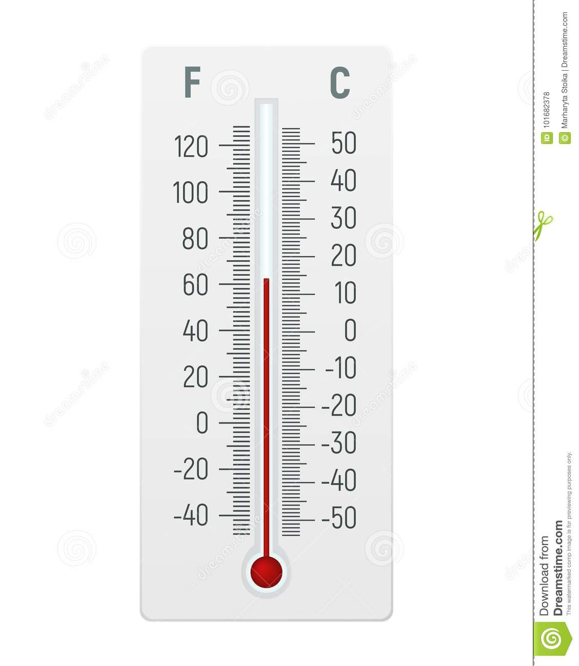 Thermometer In Graden Celsius En Fahrenheit Vector Illustratie