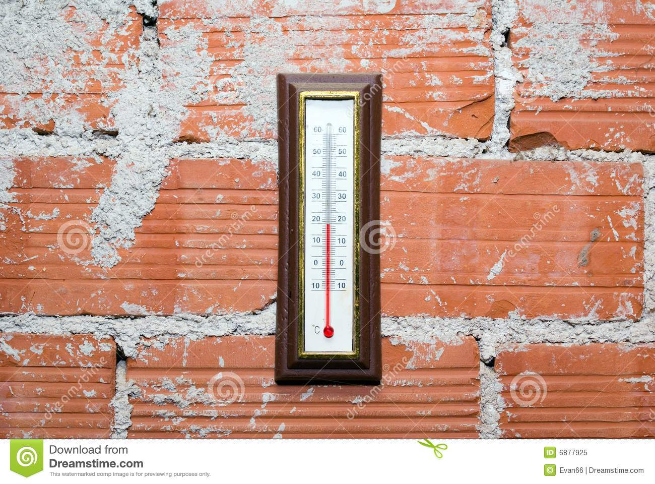 Thermometer Hanging On Red Brick Wall Royalty Free Stock