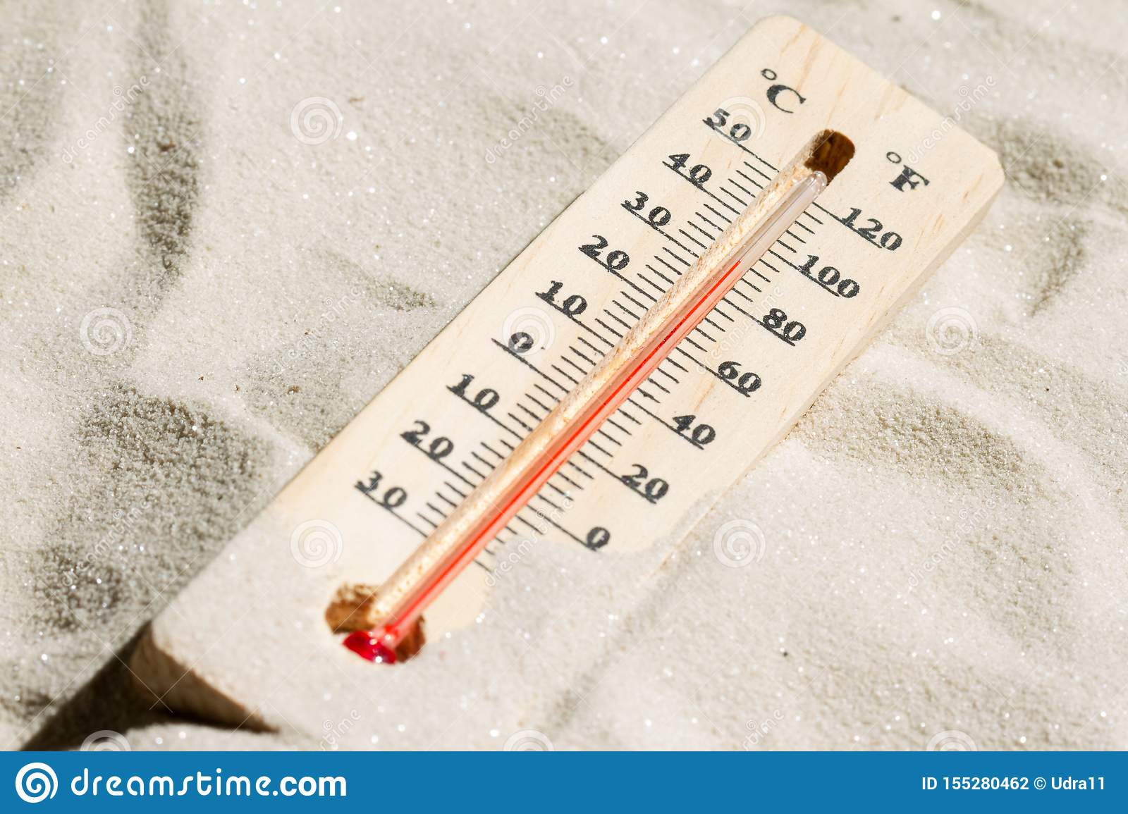 Thermometer on the hot sand global warming concept