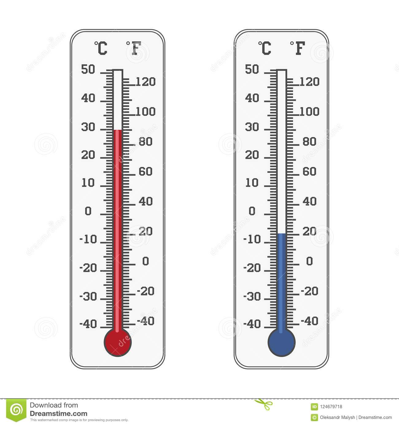 Thermometer Icon. Celsius And Fahrenheit Measuring Hot And ...