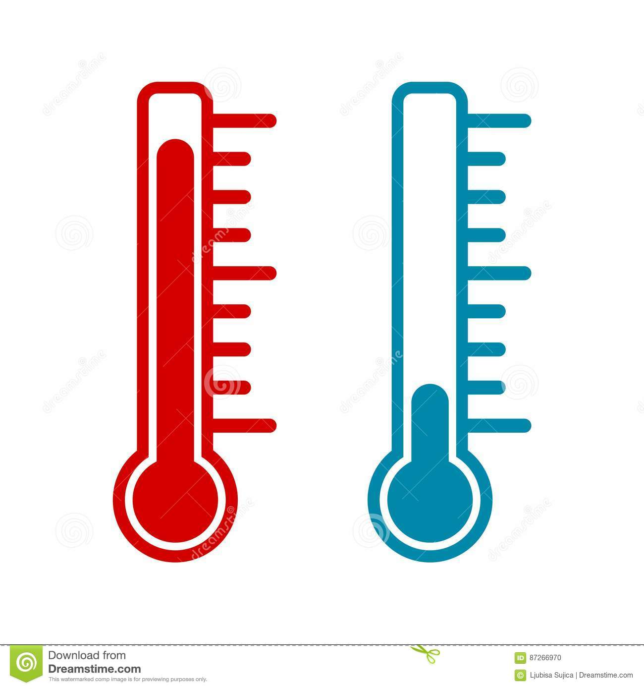 Warm Design Thermometer Icon Hot And Cold Stock Vector Illustration