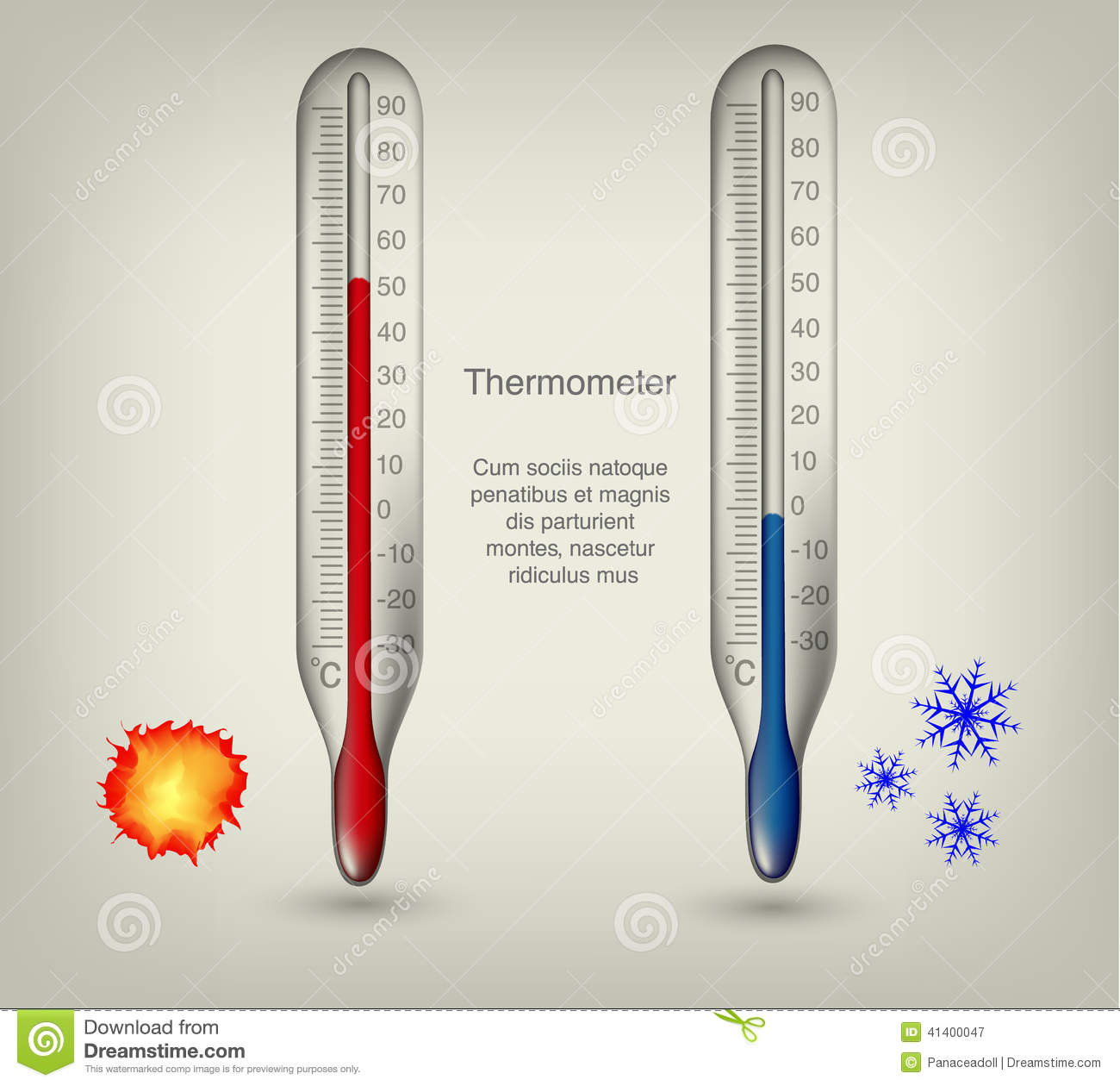 Thermometer Icons With Hot And Cold Temperatures Stock