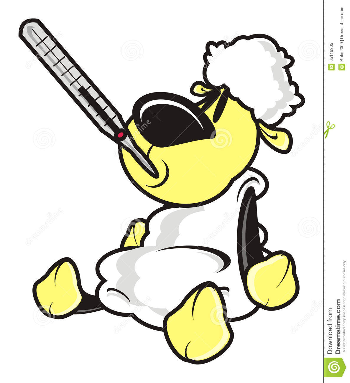Thermometer, Illness, Fever, Patient, Lamb, Sheep, Drawing