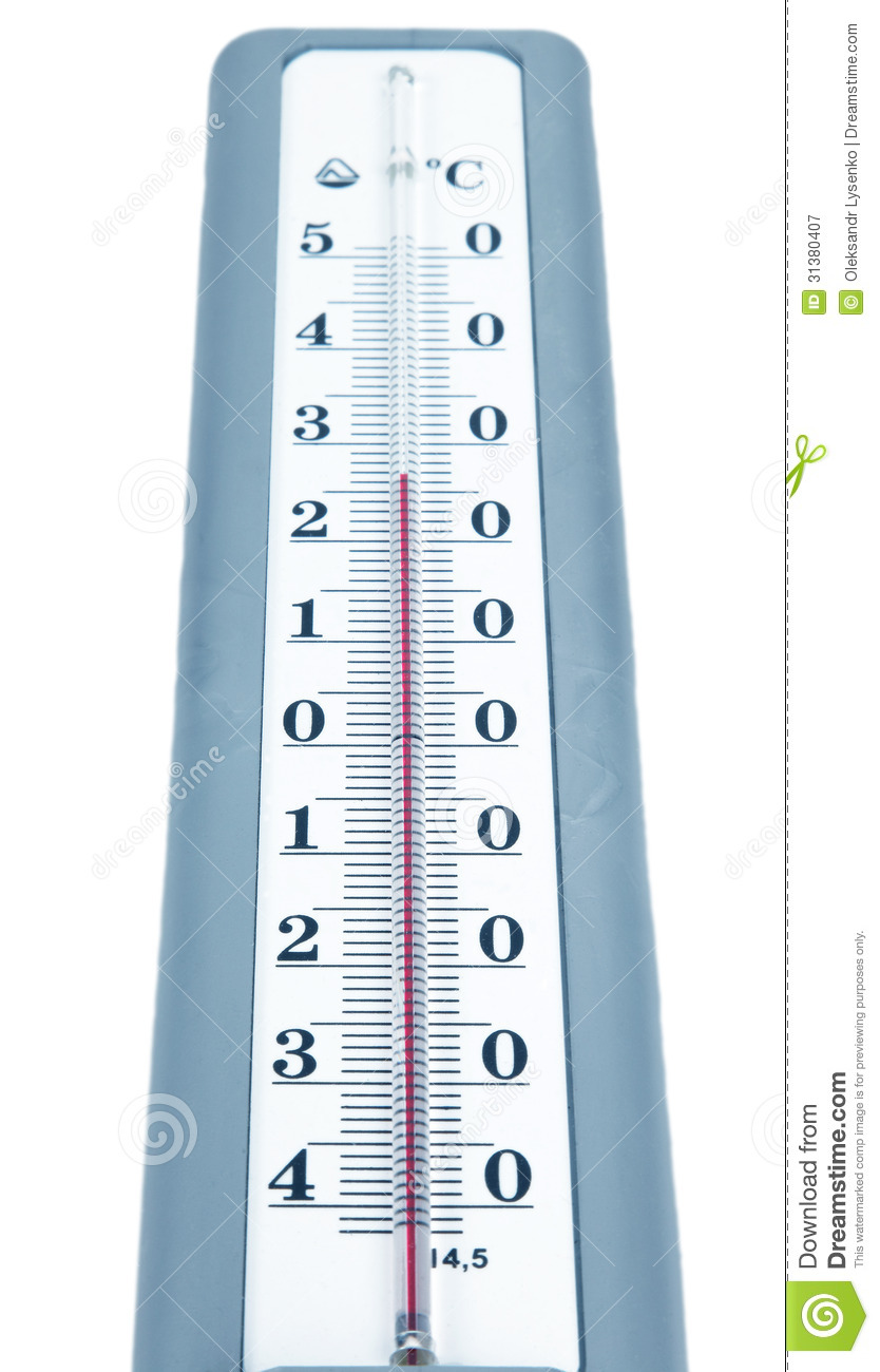 Heat Measuring Instruments : Thermometer isolated stock image of macro