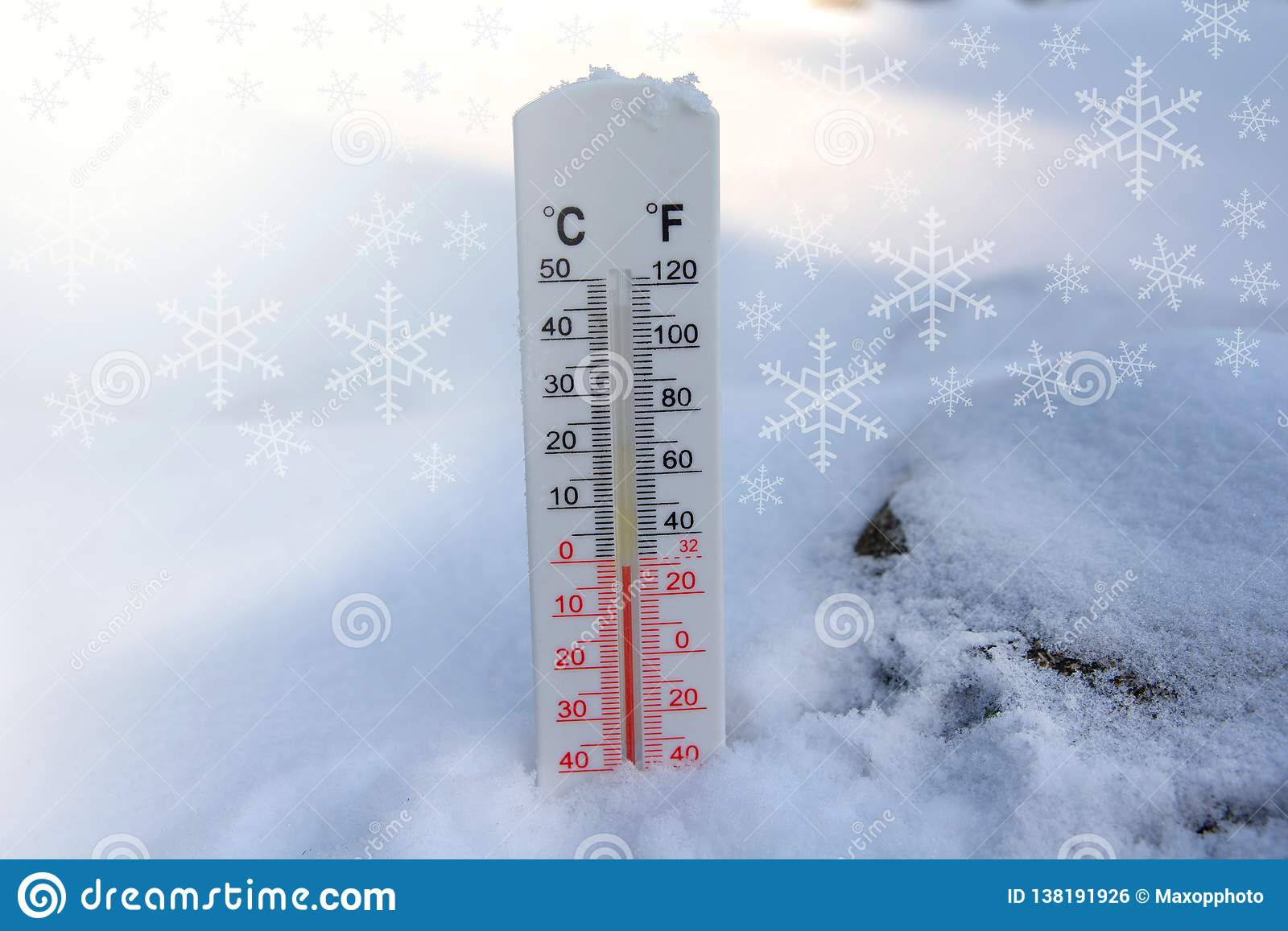 Thermometer on snow shows freezing temperature in celsius or farenheit