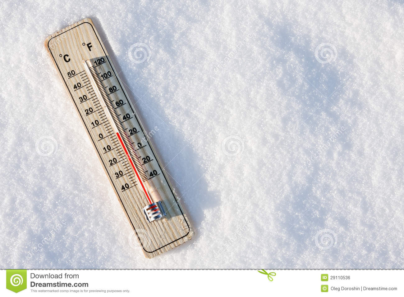 Thermometer in the snow with zero temperature