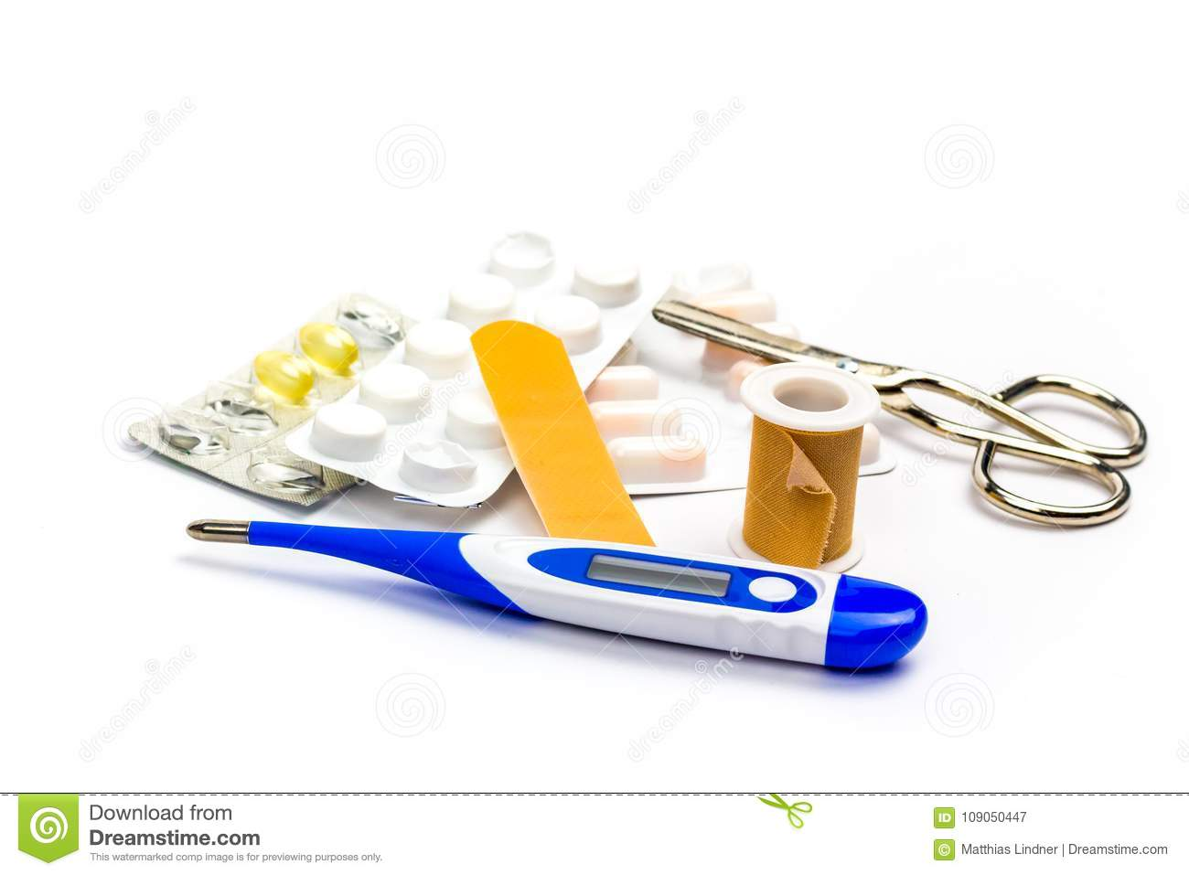 Thermometer Tablets And Patches As A Symbol Of Medical Care Stock