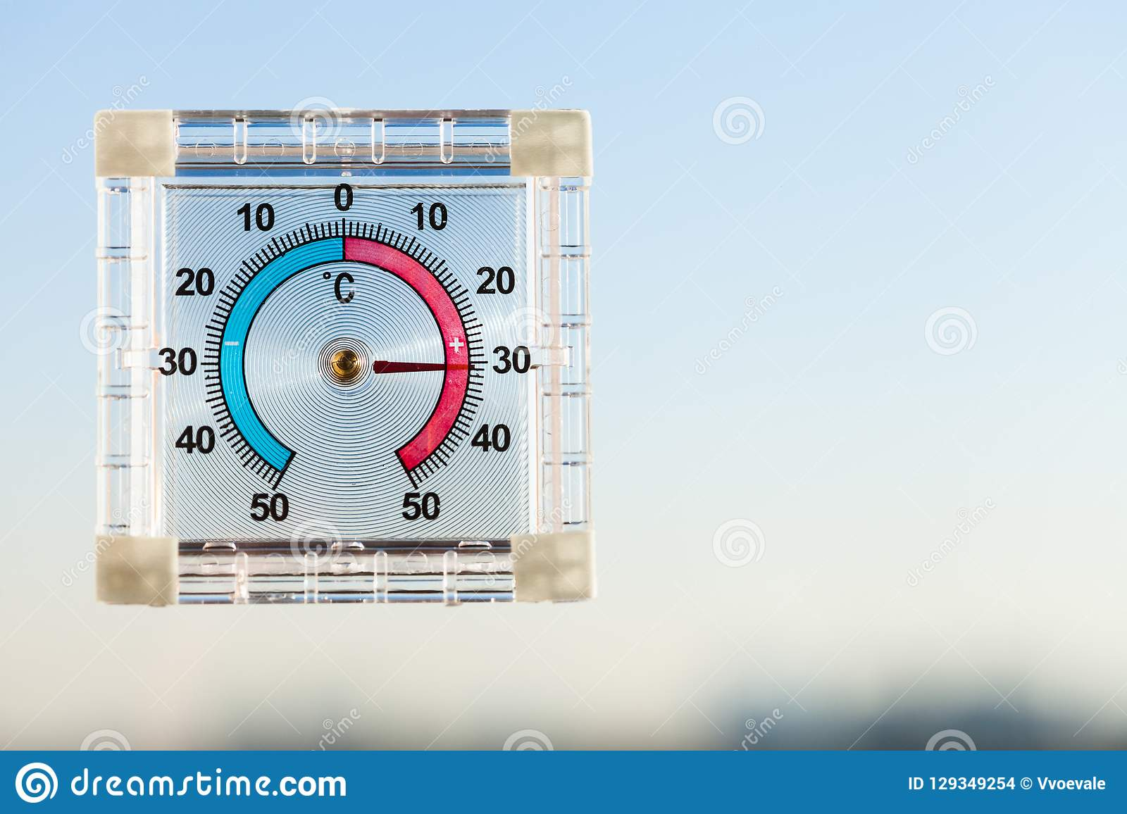 Thermometer On Window And Blue Sky In Hot Twilight Stock