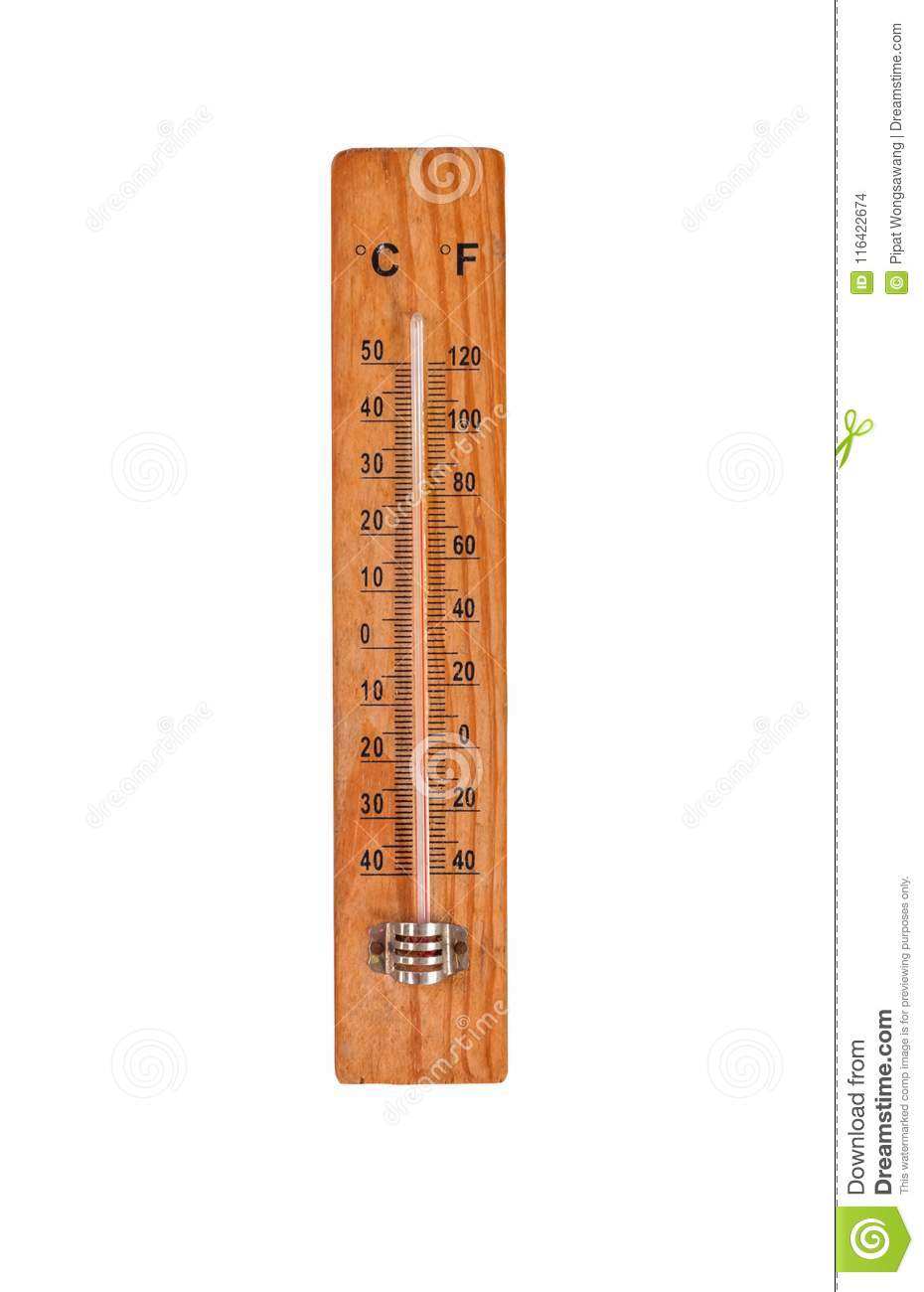 thermometer on wooden base with celsius and fahrenheit degrees scale