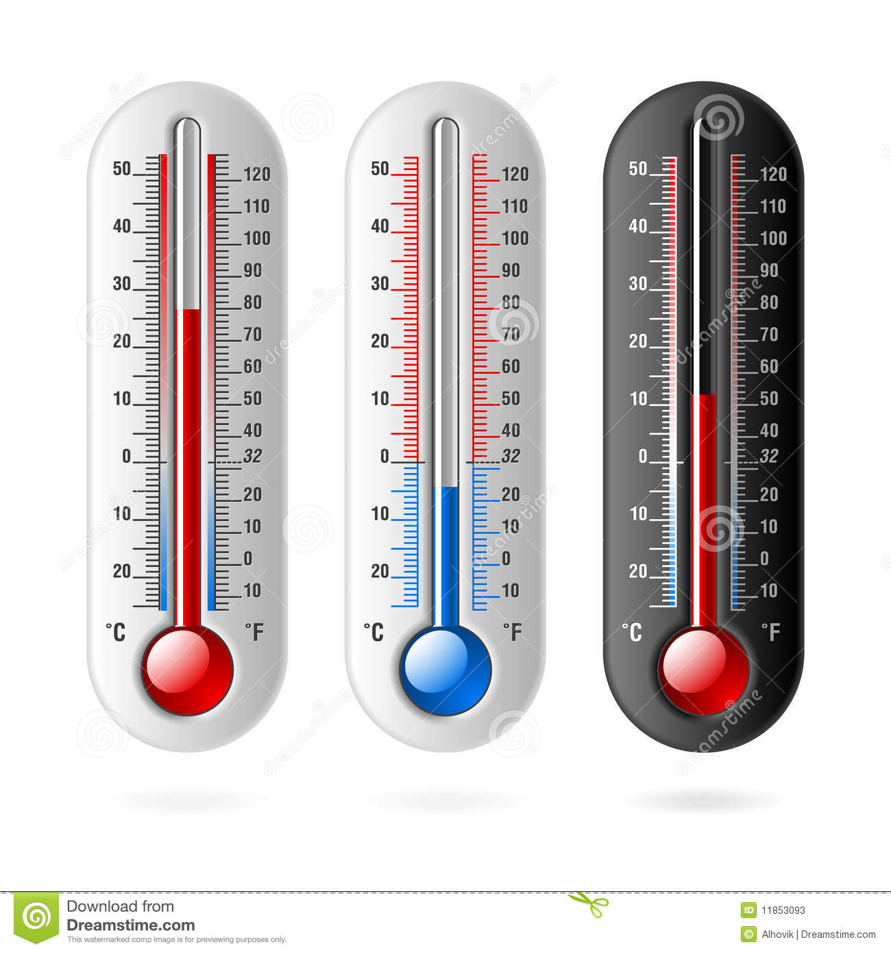 Thermometers. Celsius And Fahrenheit. Stock Vector - Image ...