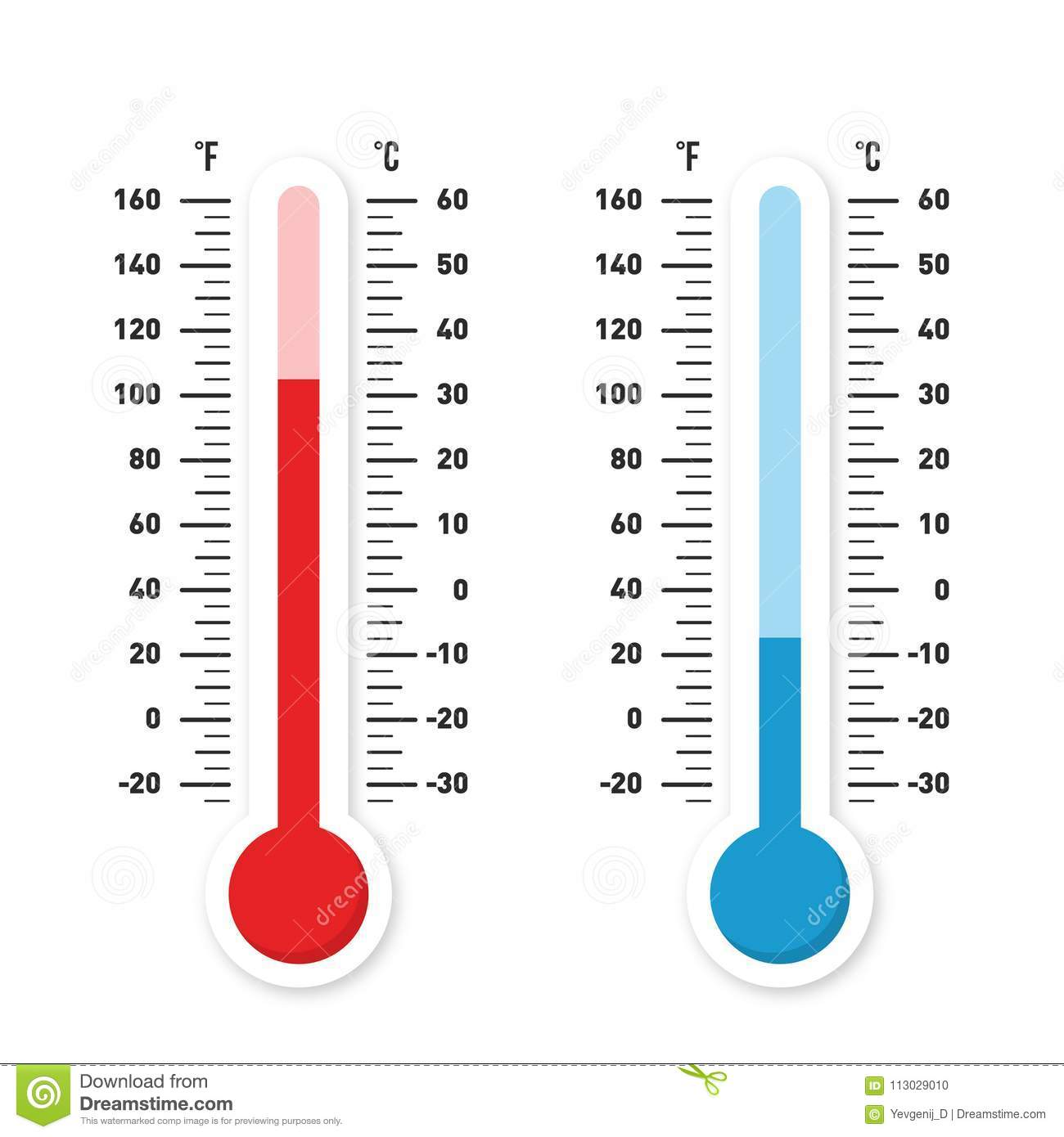 thermometers measuring heat and cold temperature red and blue