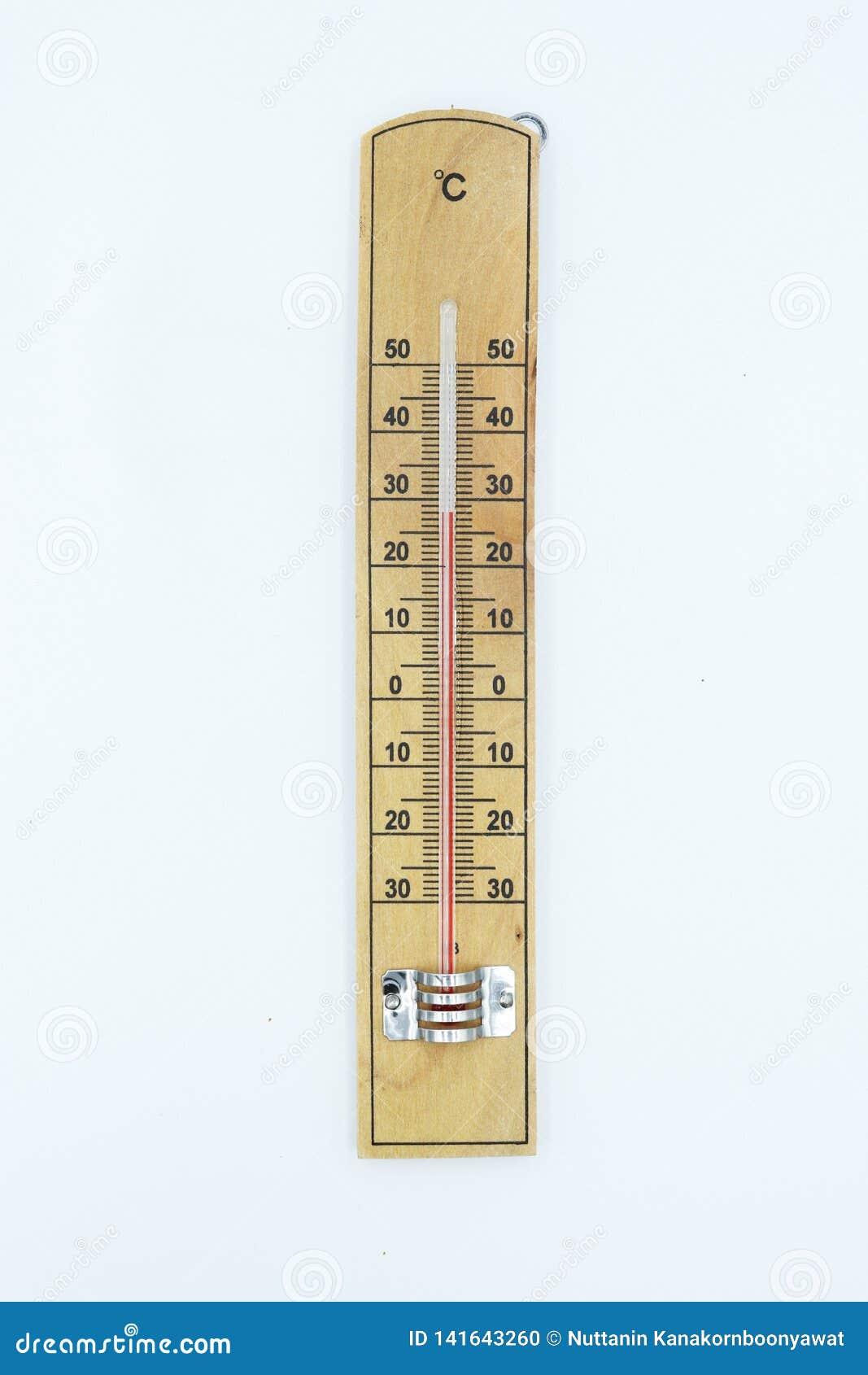 Thermoneter drewno odizolowywający na białym tle